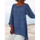 Women Tunic Cotton Linen Tops And Blouses Casual Solid Shirt