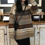 Women Vintage Loose Pullovers Casual Geometric Sweaters