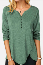 Women Leisure Casual T-shirt Splice Buttons Top