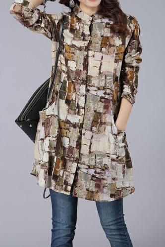 Women Cotton Linen Plaid Long Shirt Casual Tops