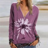 Casual Women Blouse Shirts V Neck Button Long Sleeve Tops