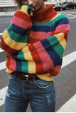 Rainbow Turtleneck Sweaters Women Striped Oversized Pullover