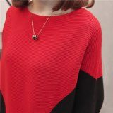 Women Knitted Batwing Sleeve Sweater Loose Pullover