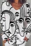 Women's Abstract Print Tops V Neck Blouse Shirt