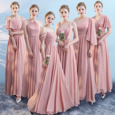 Wedding Party Formal Bridesmaid Dresses Chiffon Sisters Dress