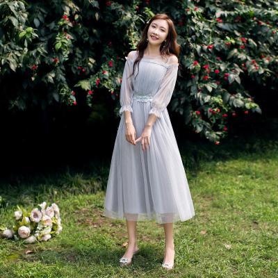 Knee-length Chiffon Simple Belt Elegant Mesh Bridesmaid Dresses