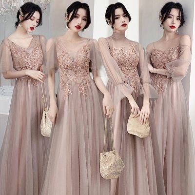 Bridesmaid Dresses Shining Sequin Appliques Wedding Party Dress