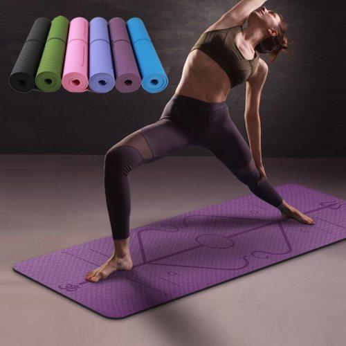 1830*610*6mm TPE Yoga Mat with Position Line Non Slip Carpet Mat