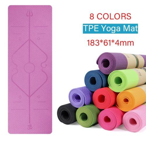 TPE Yoga Mat With Position Line Non Slip Fitness Sport Carpet