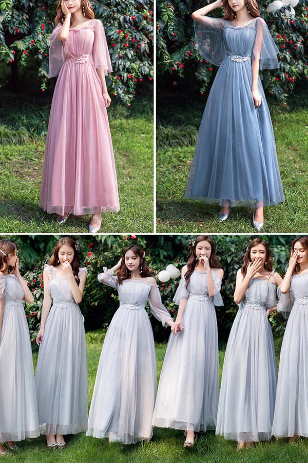 Women Belt Slim Chiffon Party Long Bridesmaid Dresses