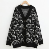 Women V neck Cardigan Casual Knit Jacket Sweater