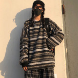 Women Oversize Pullovers BF Striped Knit Sweater