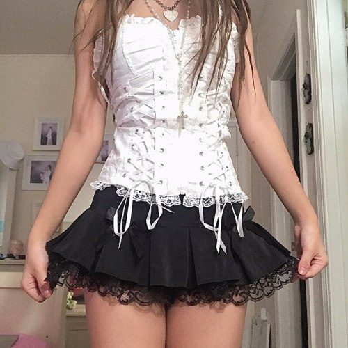 Lace Patched Mini Skirts Y2K Low Waist Pleated Skirts