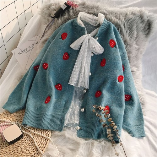 Oversize Cardigan Strawberry Embroidery Pearl Buttons Sweater