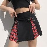 Printed Y2K Skirts High Waist Pleated Mini Skirts