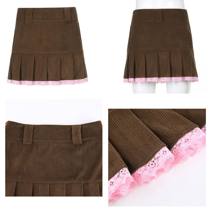Y2K Lace Patched Skirts Harajuku Pleated Mini Skirts
