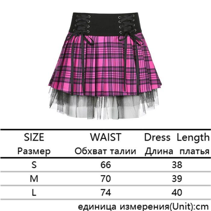 Y2K Woman Stripe Plaid Lace Trim Pleated Skirt