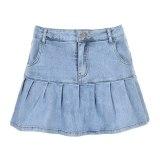 Women Y2K Jeans Skirts Pleated Zipper Mini Skirts