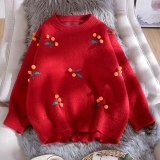 3D Plush Ball Decoration Sweater Casual Loose Pullover