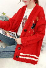 Winter Knitted Cardigan Cartoon Embroidery Oversize Sweater Coat