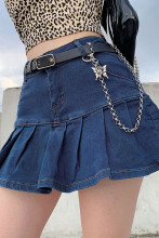 Women Y2K Jeans Skirts Pleated Zipper Mini Skirts