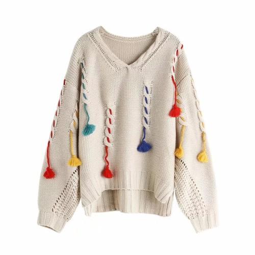 Loose Tassel Pullover Sweater Deep V Neck Sweater Jumpers