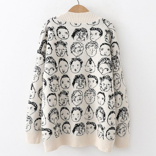 Women V neck Cardigan Casual Knit Jacket Sweater