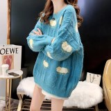 Women's Cartoon Sheep Print Sweater Loose O Neck Knitted Pullover