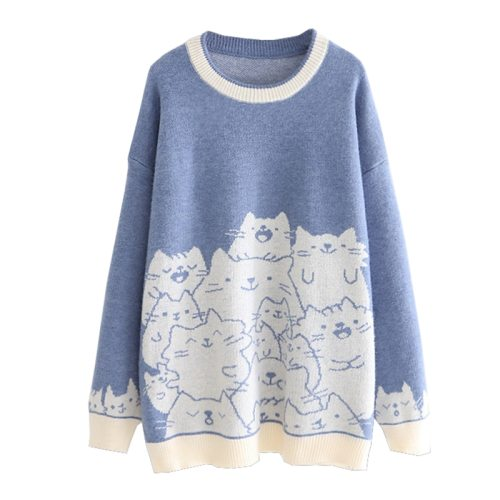 Embroidery Knit Jumper Womens Harajuku Pullover Sweater