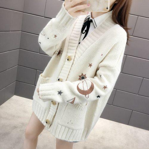 Harajuku Loose Sweater Embroidery Cardigan