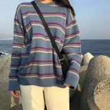 Women Pullovers O-Neck Striped Knitted Loose Sweaters