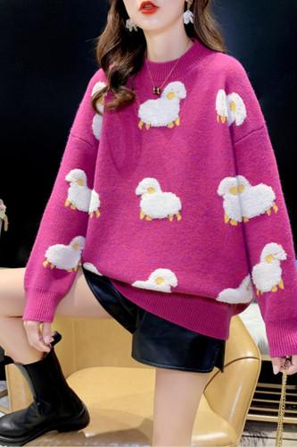 Cartoon Sheep Print Pullover Loose Sweater