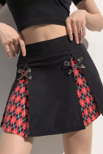 Printed Y2K Skirts High Waist Pleated Mini Skirts