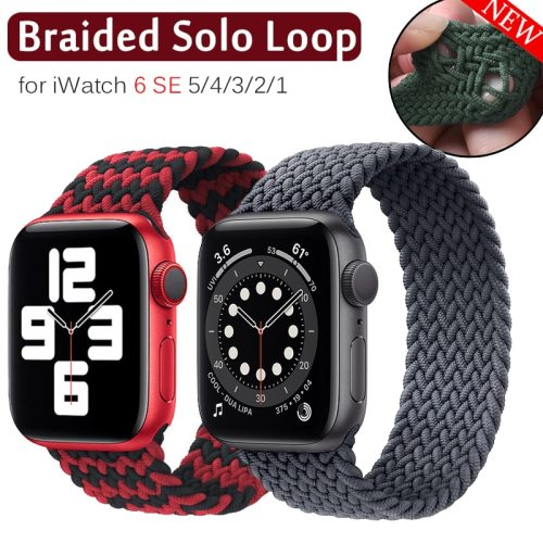 Braided Solo Loop Nylon fabric Strap For Apple Watch Band