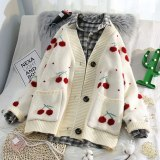 Fruit Cherry Embroidery Knitted Cardigan V Neck Oversize Sweater