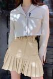 Women's Stripe Pleated Skirts Patchwork A-line Mini Skirt