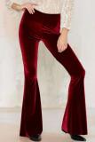 Women Y2k Velvet Flares High Waist Pant Stretchy Trousers