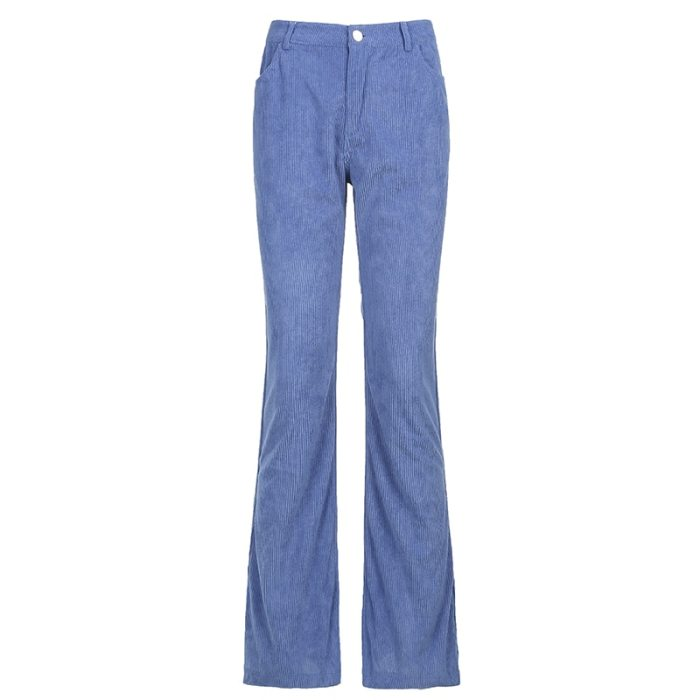 Y2K Corduroy Long Trousers Women Skinny Mid Waist Pants