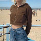 Y2k Cropped Top Hoodie Zip Up Sweatshirt Hoodies