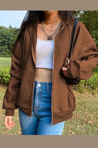 Y2K Vintage Zip Up Sweatshirt Jacket Long Sleeve Hooded Pullovers