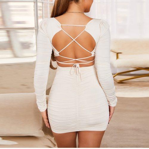 Backless Square Collar Bodycon Mini Dresses