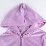 Y2k Cropped Hoodies Zip-Up Slim Outfits Purple Sweatshirts