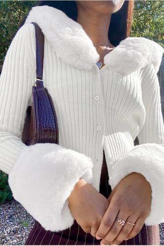 Fur Trim Fluffy Soft Cardigans Elegant V Neck Knit Sweaters
