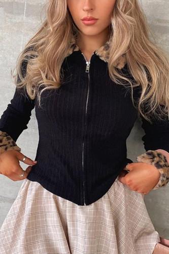 Leopard Fur Trim Collar Y2K Cardigan Ribbed Knit Zip Up Jumper