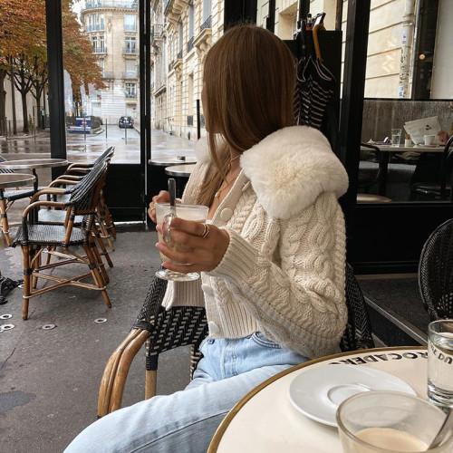 Geometric Pattern Knit Cardigan Fur Trim Collar E-Girl Knitwear