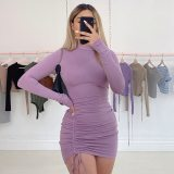 Ruched Bodycon Mini Dress Lace Up Draped Tight Dresses