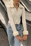 Ribbed Knitted Cardigan Women's Fur Trim Zip Up Jumpers