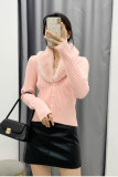 Knitted Cardigan Sweaters Fur Trim Collar Winter Jumpers
