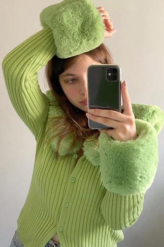 Y2K Fur Trim Cardigans Ribbed Knitted Ladies Sweaters