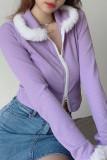 Ribbed Y2K Faux Fur Trim Knit Cardigan Zip Up Sweater